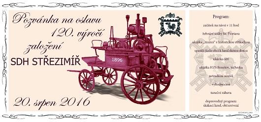 Pozvánka na oslavu 120.výročí SDH Střezimíř