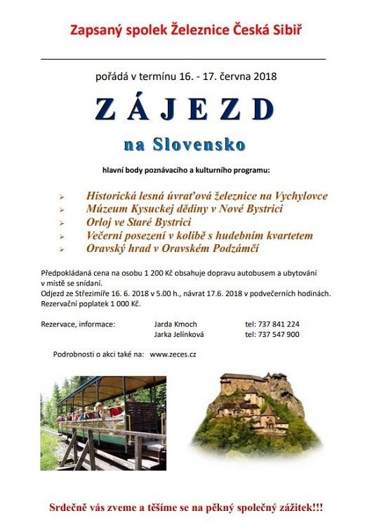 Zájezd Železnice Česká Sibiř 16.- 17.6.2018 na Slovensko