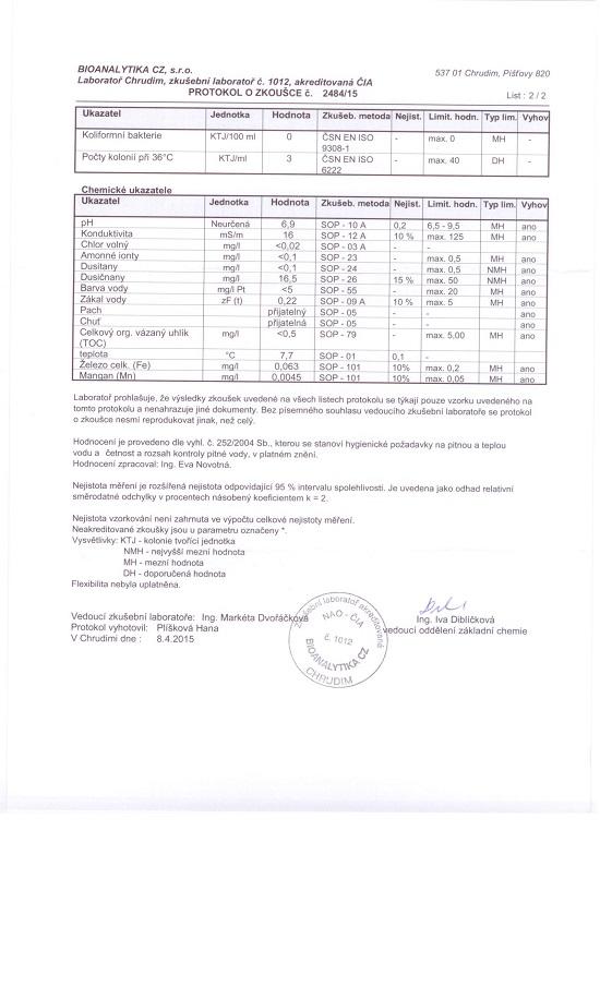 Rozbor vodyz 30.3.2015 vodovod Bonkovice