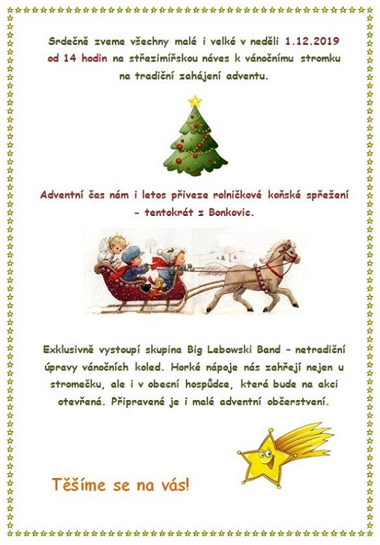 Rozsvěcení vánočního stromečku v neděli 1.12.2019
