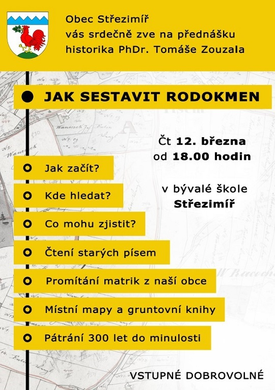 """Přednáška """"Jak sestavit rodokmen"""" 12.3.2020"""