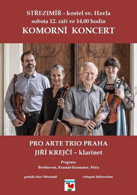 Pozvánka na komorní koncert 12.9.2020 - Pro Arte Trio a Jiří Krejčí