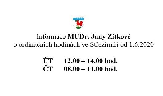 Ordinační hodiny MUDr. Jany Zítkové od června 2020