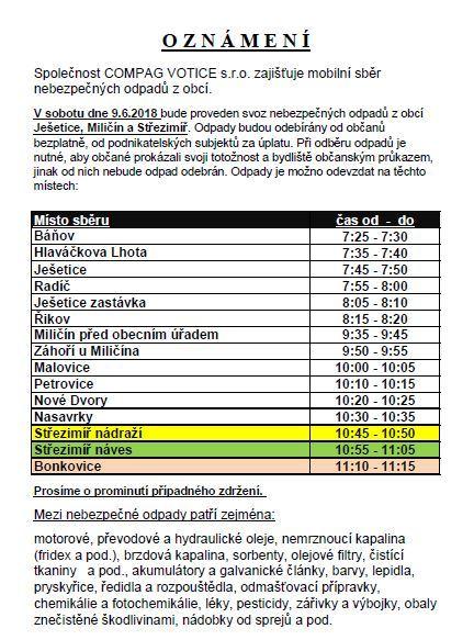 Mobilní sběr nebezpečných odpadů 9.6.2018