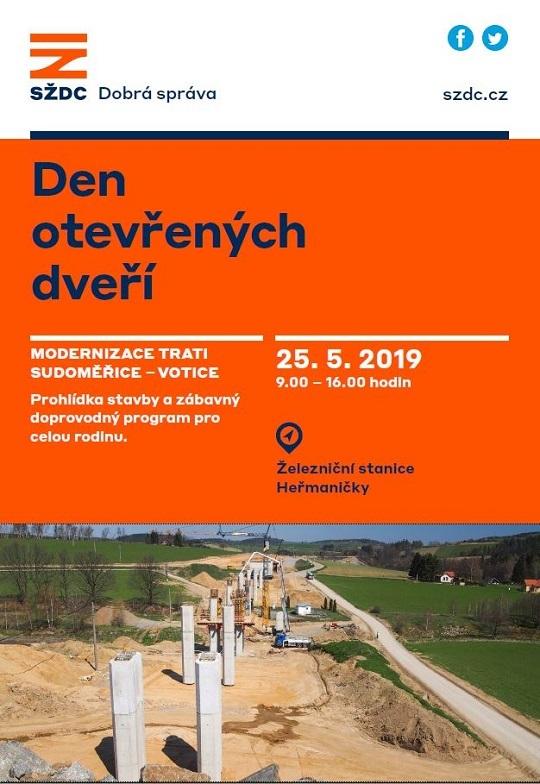 Den otevřených dveří na stavbě železničního koridoru 25.5.2019