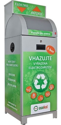 E-box na sběr použitých baterií a drobného elektrozařízení.